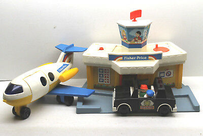 3 pc Vintage Fisher Price Little People Play Family Airport+Airplane+Police