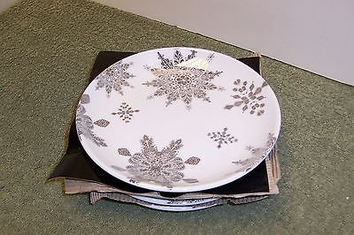 222 Fifth Lace Snowflake Christmas 4 New Appetizer / Dessert Plates/ Salad Plate