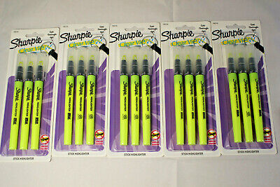 5 Sharpie Clear View Highlighter Stick Yellow 3pack 1950745 New Sealed