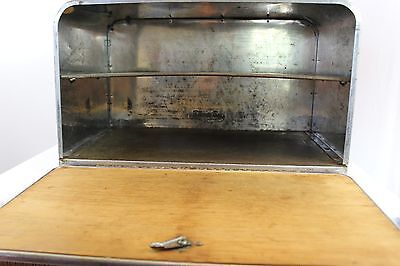Vintage  Bread Box Beauty Box Stainless Steel Chrome Container Wood Storage