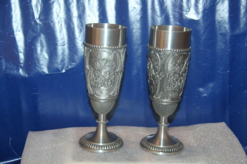 RUSSIAN STAINLESS STEEL WINE / WATER GOBLETSWITH RAISED DESIGN (PAIR)