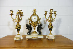 Antique French Marble Bronze Clock Mantel Clock Set French White Marble