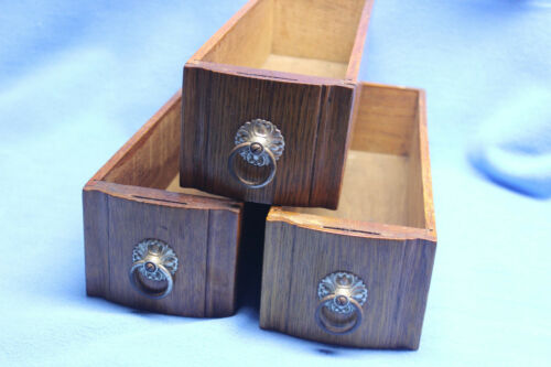 lot of 3 Vintage Antique Wooden Sewing Machine Drawers