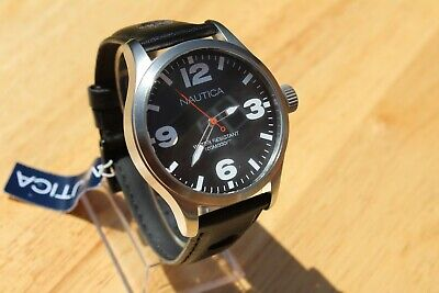 RRP £140. NEW NAUTICA A11560G GENUINE NEW LARGE GENTS STAINLESS 100M WR WATCH