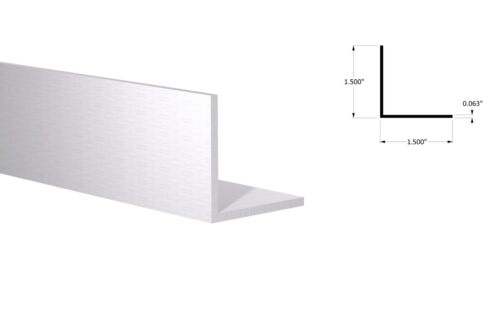 """Aluminum Angle: 1-1/2"""" x 1-1/2"""" x 1/16"""" Wall (3 Foot Length) Clear Anodized"""