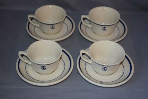 U.S. NAVY FOULED ANCHOR 4 CUP & SAUCER Homer Laughlin