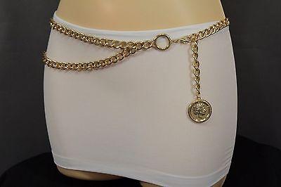 Hot Greek Women (Hot Women Metal Chain Belt High Waist Hip Gold Greek Style Big Coin Charm M L)