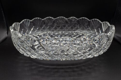"Waterford Crystal Oval Bowl Fan Cut Footed 10 7/8"" Long FREE USA SHIPPING"