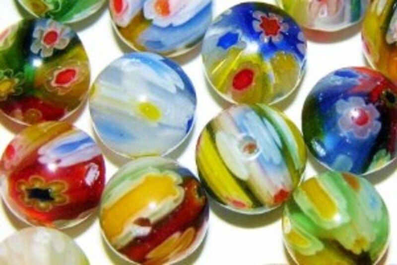100 BEAD LOT MURANO MILLEFIORI LAMPWORK GLASS 8mm ROUND