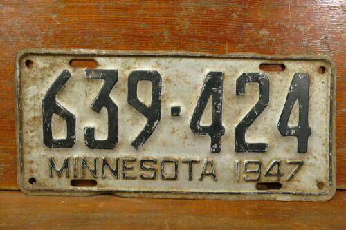 Vintage 1947 Minnesota Embossed Steel License Plate Tag - # 639424