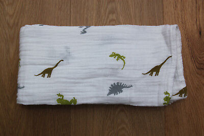 "aden anais Swaddle Blanket ~ Dinosaurs, Lizards & Frogs ~ 47"" x 47"" ~"