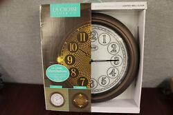 New- Open Box- La Crosse 18 Indoor/Outdoor Lighted Dial Wall Clock Bronze