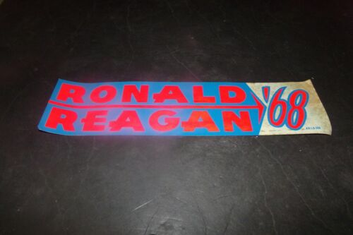 Vintage Ronald Reagan Bumper Sticker First time ran for President Red Blue 1968