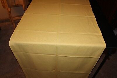 84 x 36 Rectangular Yellow Table Cloth Solid Ribbed Pattern