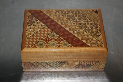 Japanese Yosegi Puzzle Jewelry Trinket Box Samurai Wood w/ Sanyo Music Player