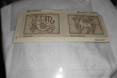 Vintage CRAFTAID TEMPLATE Leather tooling wallet Virgo Scorpio pattern 6559