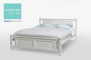 Batna Brand New Timber Double Size Bed Frame - WHITE