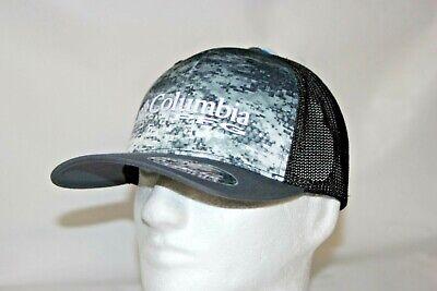 Columbia PFG Camo Mesh Flexfit Fitted Ball Cap Hat Dark Realtree Mako L//XL