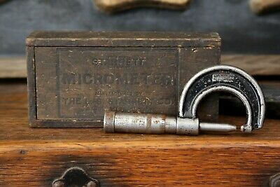 Vintage L.s. Starrett Co. Micrometer No. 113 Dovetailed Wood Box Machinist Tool
