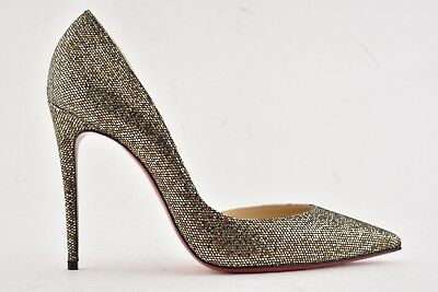 NIB Christian Louboutin Iriza 100 Gold Bronze Glitter Regina Oxy Heel Pump 42