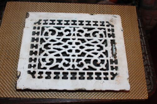 Antique Victorian Register Heating Grate Vent #10 Cast Iron Scrolls Rectangular