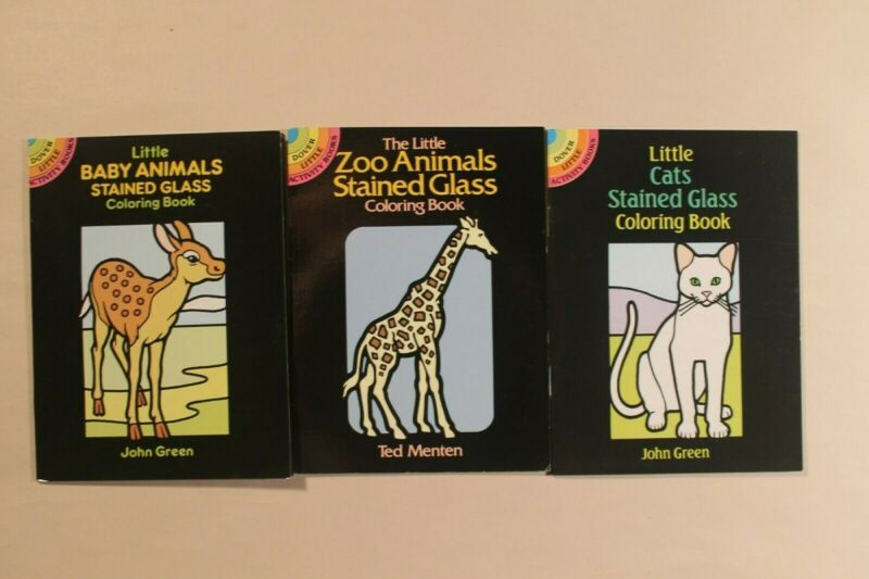 Lot of 3 Stained Glass Coloring Books (Dover, New) Cats, Baby Animals, Zoo