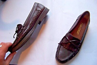 Used, womens cabin creek brown leather fringe slip on loafers shoes size 6 for sale  Shipping to Canada