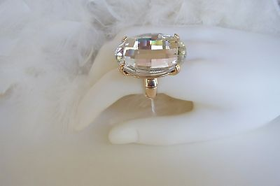 HUGE GOLD CLEAR RHINESTONE CRYSTAL STRETCH RING PAGEANT BRIDAL DRAG QUEEN  - Gold Crystal Stretch Ring