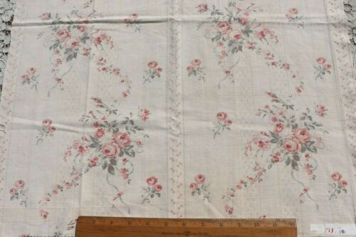 "Antique French Faded 19thC Pink Roses, Blue Ribbons Home Dec Fabric~27"" X 22"""