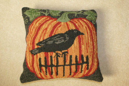 """New Primitive Halloween Pumpkin Crow Wool Hooked Pillow 15"""" Square FREE SHIP"""