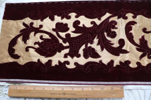 "Beautiful Maroon French Antique Silk Cut Velvet On Satin Sample Fabric~27""X 9.5"""