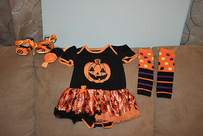 Girls Pumpkin Princess First Halloween Costume Outfit 4 Piece Set for 6-9 Months
