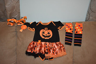 Girls Pumpkin Princess First Halloween Costume Outfit 4 Piece Set for 6-9 - Halloween Outfits For Girls
