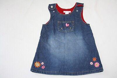 H&M * Baby Jeans Kleid  Gr.74  blau rot Blumen Marienkäfer Stickerei