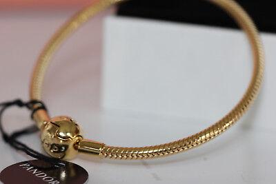 AUTHENTIC PANDORA SHINE SMOOTH CHARM BRACELET 567107 BOX 18K GOLD PLATE $200  (Gold Pandora)