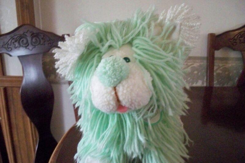 Vintage FLUPPY DOG Poodle FANCY Yarn Mint green And White 1986