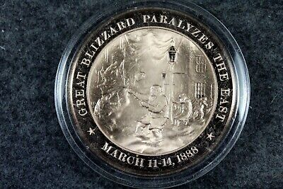 """+1888 Great Blizzard /""""THE SNOW STORM Of /'88/""""  Franklin SOLID BRONZE Uncirculated"""