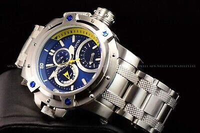 Invicta 52mm Retrograde Day Coalition Forces Silver Tone Blue Dial Chrono Watch