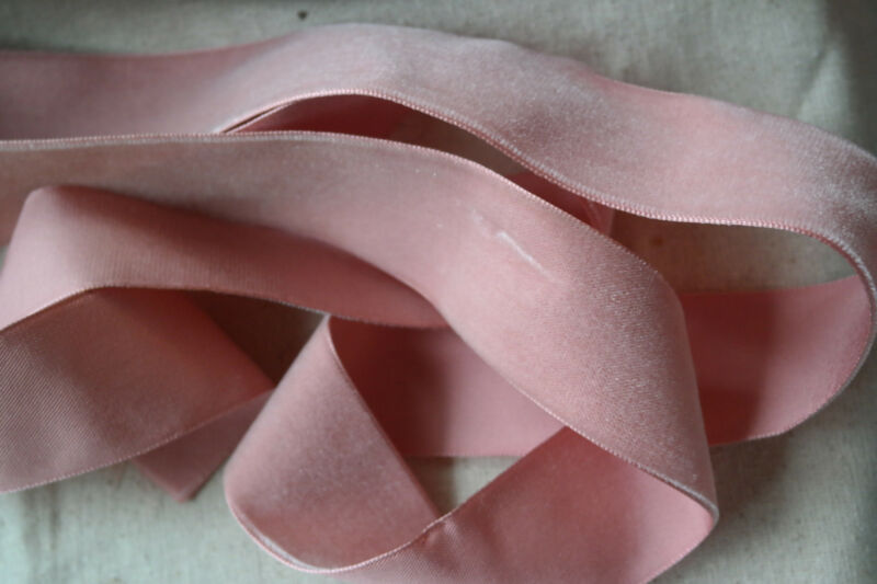 "BTY vtg pink velvet Swiss 1 1/2"" 1.5"" rayon ribbon Millinery hat doll dress"