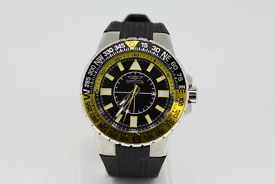 Invicta 19267 Aviator Black/Yellow Rubber Strap Men's Wristwatch