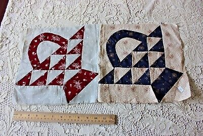 """2 Antique 19thC American Hand Pieced Basket Square Fabric~11"""" Squares"""