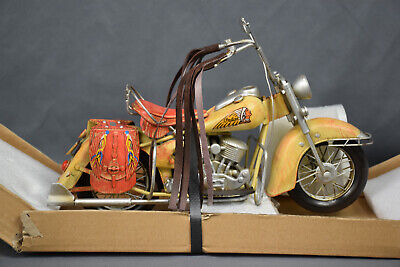 Vintage Handmade Indian Motorcycle 1:8 Tinplate Antique Style Metal Model -preow