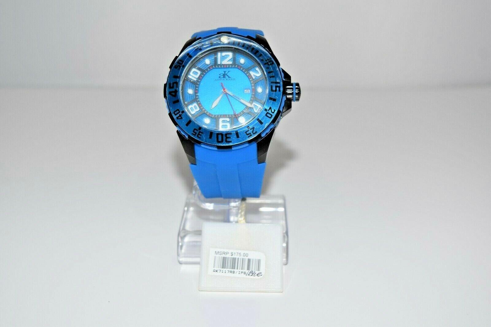 aK Adee Kaye Men`s Rubber SS Oversized AK7117RB Watch Blue