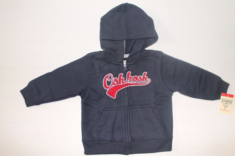NWT OshKosh Infant Boys 24 Months Navy Blue Red Zip Front Hoodie Fleece Sweater