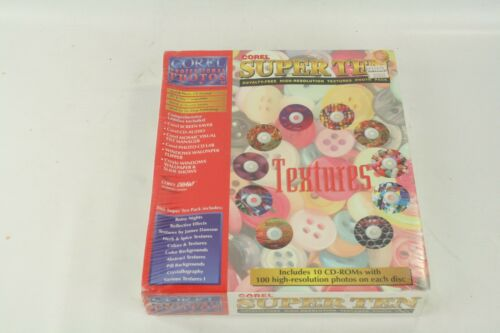 New COREL SUPER TEN Royalty-Free Hi Res TEXTURES Photo Pack 10 CDs PC Macintosh