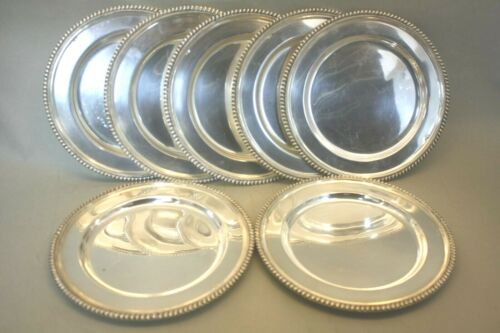 """Set Of Seven Sterling Silver 833 Portugal Dinner Plates 10 1/2"""" Chargers 145oz"""