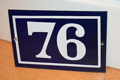 Vintage French Enamel Metal House Sign Number 76 - See Photos