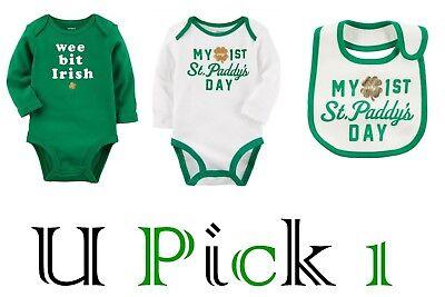 St Patricks Day 1st Bodysuit Bib Outfit Holiday Carters little Boys Unisex 1 st
