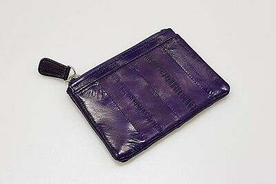 Genuine Eel Skin Leather - Small Rectangle Coin & Card Purse / Matte Purple