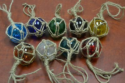 """12 PCS REPRODUCTION GLASS FLOAT BALL WITH FISHING NET 2"""" **PICK YOUR COLORS**"""